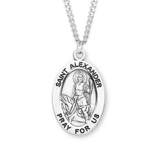"Patron Saint Alexander Oval Sterling Silver Medal | 24"" Endless Chain"