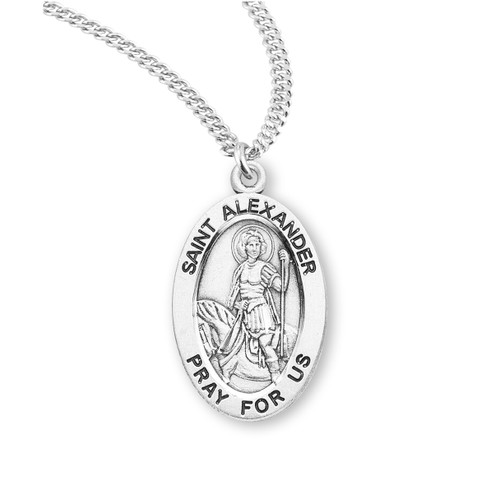 "Patron Saint Alexander Oval Sterling Silver Medal | 20"" Chain"