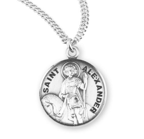"Patron Saint Alexander Round Sterling Silver Medal | 20"" Chain"