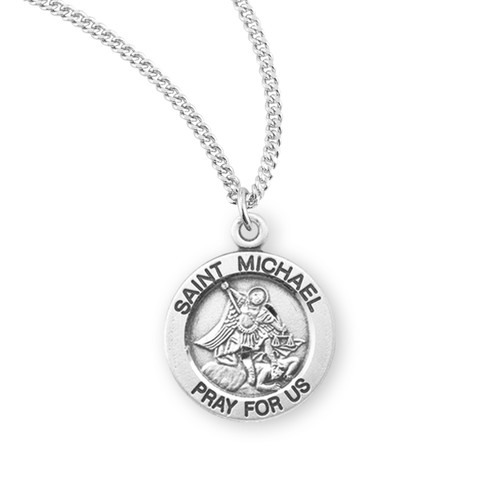 Patron Saint Michael Round Sterling Silver Medal | 2