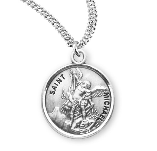 Patron Saint Michael Round Sterling Silver Medal | 3