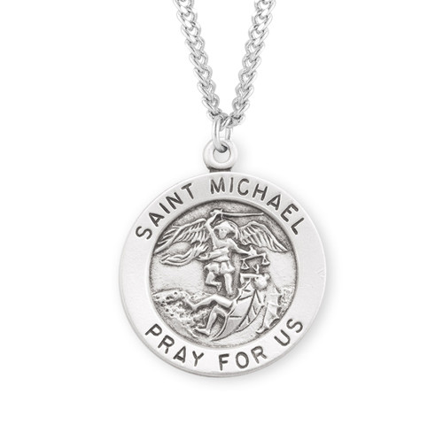 Patron Saint Michael the Archangel Round Sterling Silver Medal