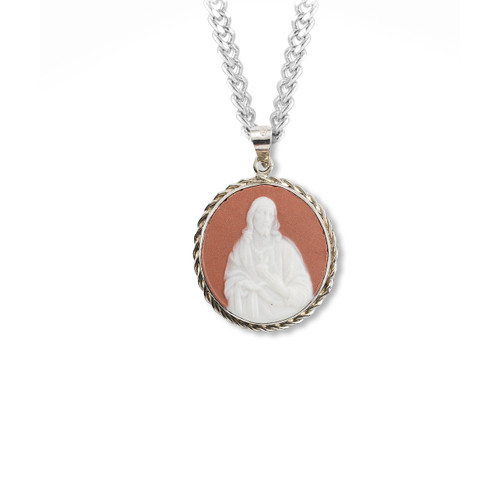 Pink Sterling Silver Sacred Heart Cameo Medal