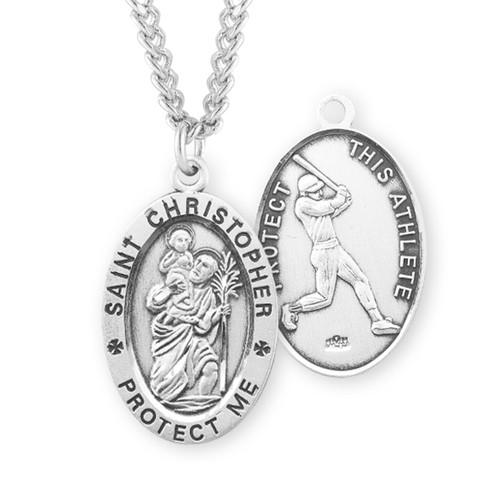 Saint Christopher Oval Sterling Silver Baseball Male Athlete Medal
