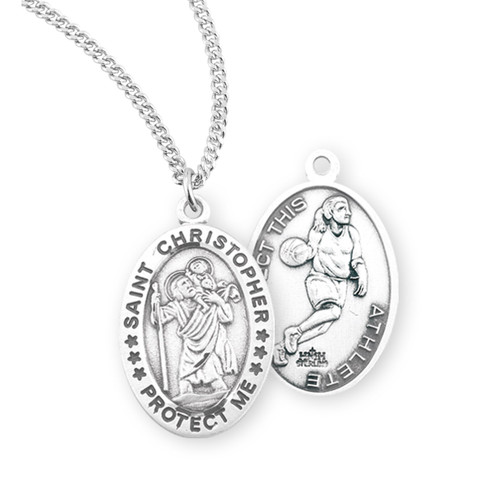 Saint Christopher Oval Sterling Silver Female Basketball Athlete Medal