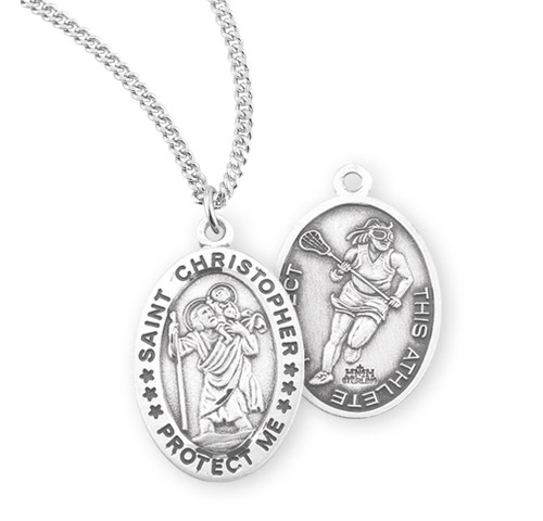 Saint Christopher Oval Sterling Silver Female Lacrosse Athlete Medal