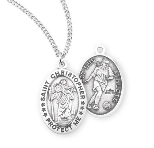 Saint Christopher Oval Sterling Silver Female Soccer Athlete Medal