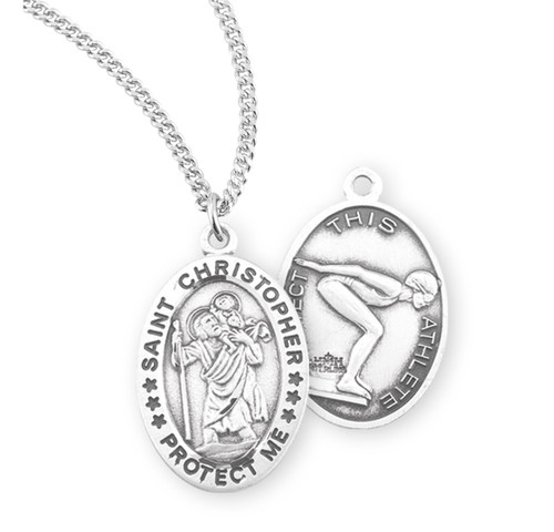 Saint Christopher Oval Sterling Silver Female Swimming Athlete Medal