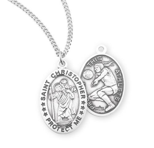 Saint Christopher Oval Sterling Silver Female Volleyball Athlete Medal