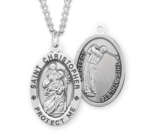Saint Christopher Oval Sterling Silver Golf Male Athlete Medal