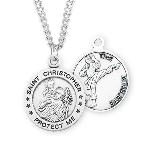Saint Christopher Round Sterling Silver Martial Arts Male Athlete Medal