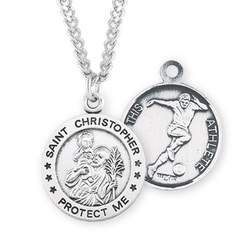 Saint Christopher Round Sterling Silver Soccer Male Athlete Medal