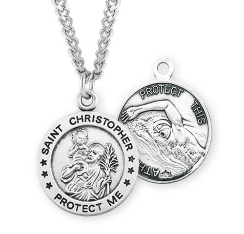 Saint Christopher Round Sterling Silver Swimming Male Athlete Medal