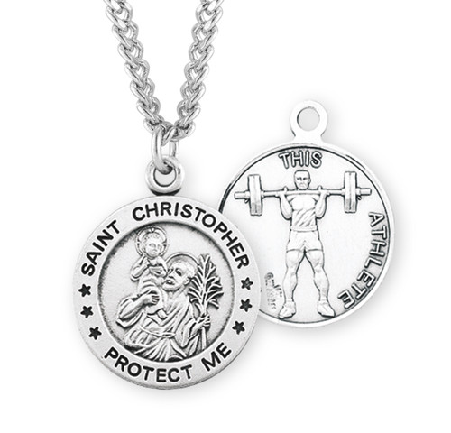 Saint Christopher Round Sterling Silver Weight Lifting Male Athlete Medal
