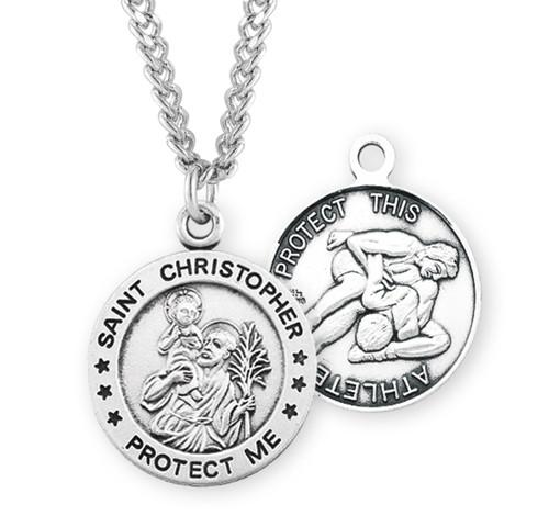 Saint Christopher Round Sterling Silver Wrestling Male Athlete Medal