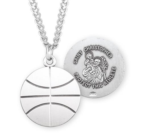 Saint Christopher Sterling Silver Basketball Athlete Medal