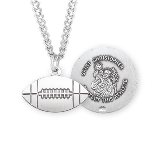 Saint Christopher Sterling Silver Football Athlete Medal
