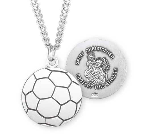 Saint Christopher Sterling Silver Soccer Athlete Medal