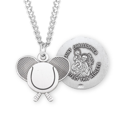 Saint Christopher Sterling Silver Tennis Athlete Medal