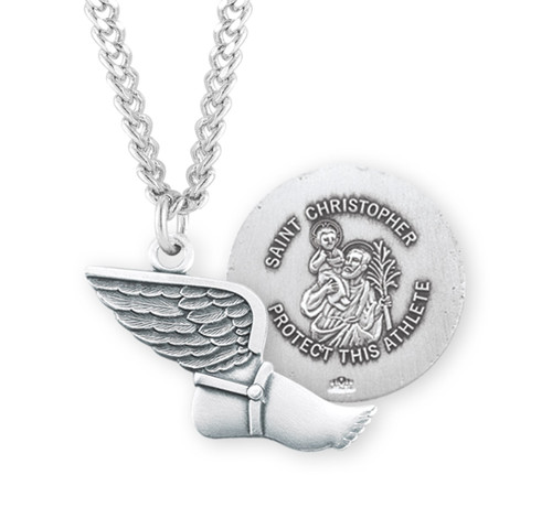 Saint Christopher Sterling Silver Track Athlete Medal