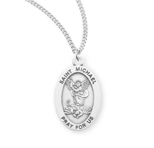 Saint Michael Archangel Oval Sterling Silver Medal | 3