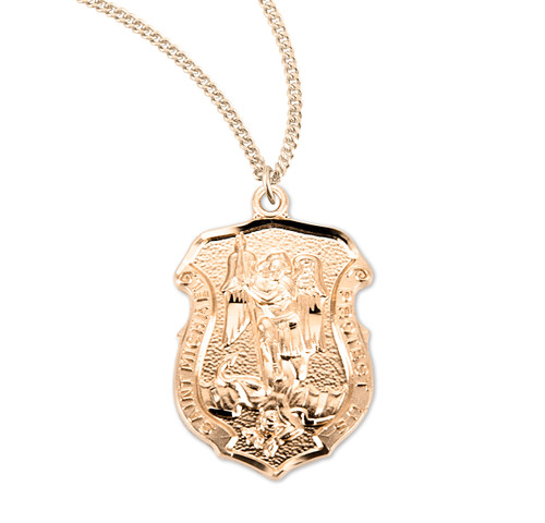 """Saint Michael Gold Over Sterling Silver Badge Medal 