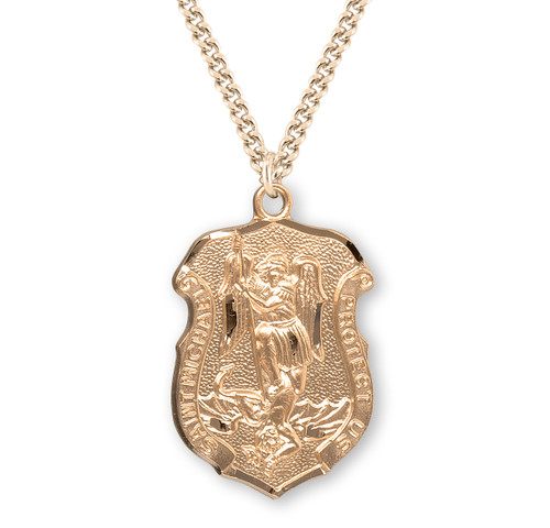 "Large Saint Michael Gold Over Sterling Silver Badge Medal | 16kt Gold 24"" Chain"