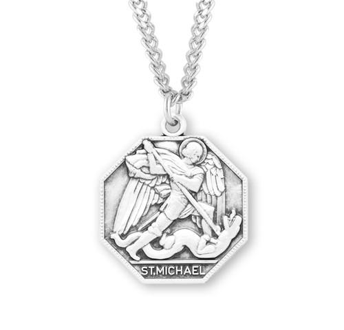 Saint Michael Octagon Sterling Silver Medal