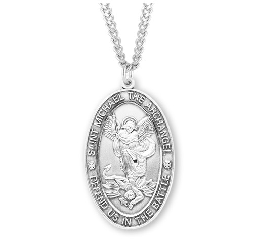 Saint Michael Oval Sterling Silver Medal | 2