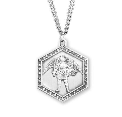 Saint Michael the Archangel Sterling Silver Hexagon Medal