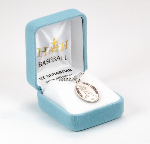 Saint Sebastian Oval Sterling Silver Baseball Male Athlete Medal