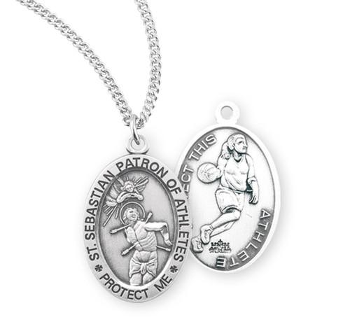 Saint Sebastian Oval Sterling Silver Female Basketball Athlete Medal