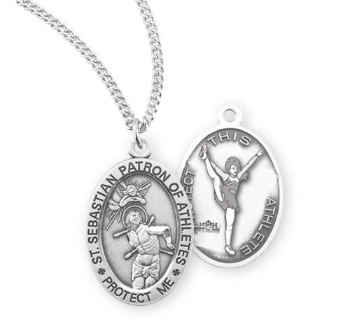 Saint Sebastian Oval Sterling Silver Female Cheer Athlete Medal