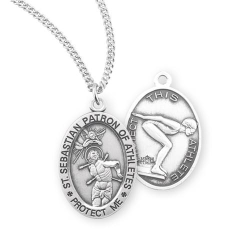 Saint Sebastian Oval Sterling Silver Female Lacrosse Athlete Medal