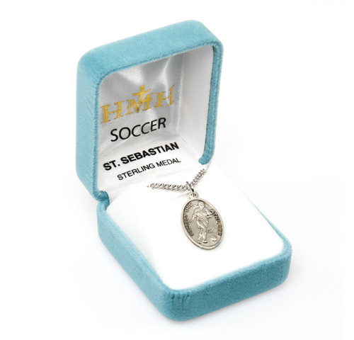 Saint Sebastian Oval Sterling Silver Female Soccer Athlete Medal