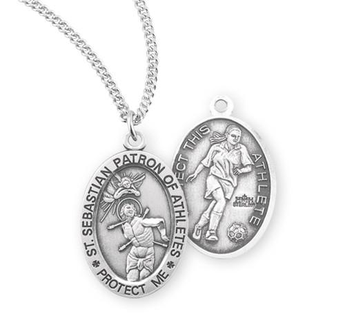 Saint Sebastian Oval Sterling Silver Female Soccer Athlete Medal