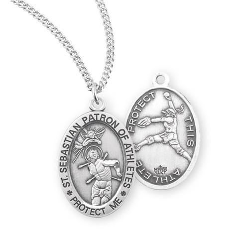 Saint Sebastian Oval Sterling Silver Female Softball Athlete Medal