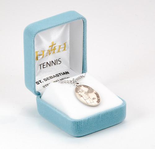 Saint Sebastian Oval Sterling Silver Tennis Male Athlete Medal