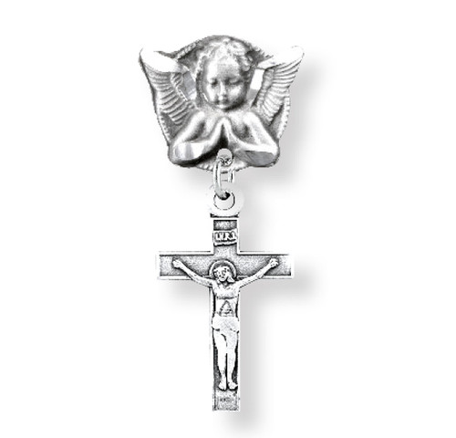 Sterling Silver Baby Cross on an Angel Pin