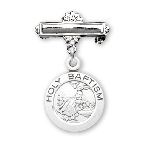 Sterling Silver Baby Holy Baptism Round Medal on a Bar Pin