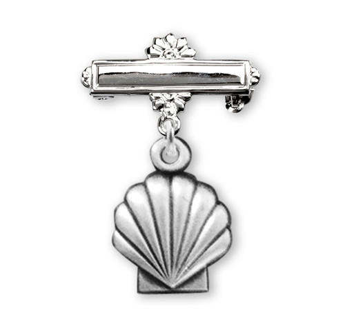 Sterling Silver Baby Holy Baptism Shell Medal on a Bar Pin