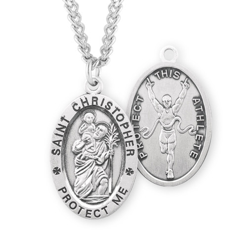 Sterling Silver Oval Saint Christopher Track Male Athlete Medal