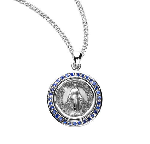 """Sterling Silver Round Miraculous Sapphire Cubic Zirconia """"CZ's"""" Pendant"""