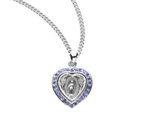"""Sterling Silver Sapphire Cubic Zirconia """"CZ"""" Miraculous Medal 