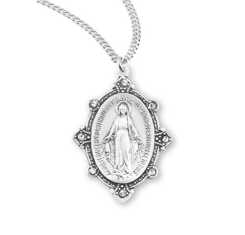 Swarovski Crystal Edged Miraculous Medal in Sterling Silver