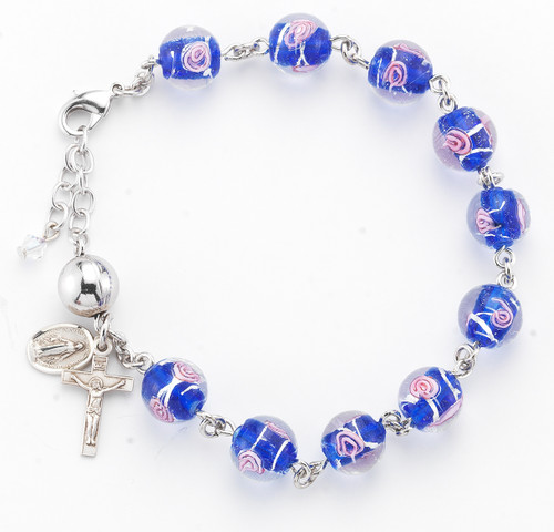 Venetian Style Round Blue with Pink Flowers Glass Bead Rosary Bracelet