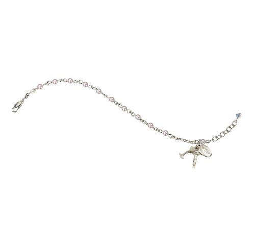 Swarovski Crystal Pink Pearl Rosary Bracelet | 4mm Beads