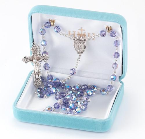 6mm Round Tanzanite Swarovski Crystal Sterling Rosary
