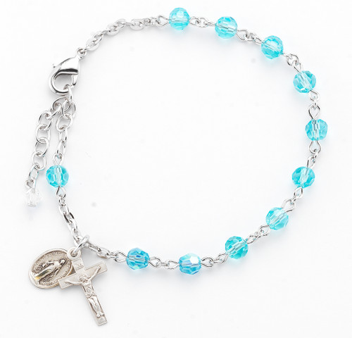 Aqua Faceted Crystal Sterling Silver Rosary Bracelet