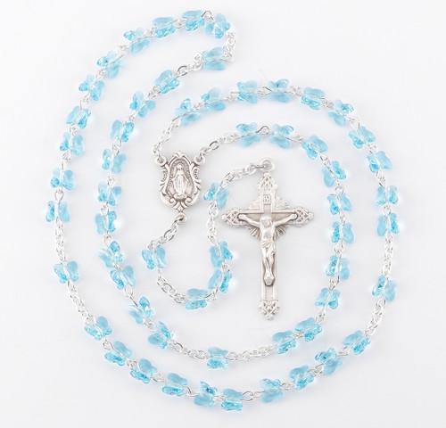 Aqua Swarovski Crystal Sterling Silver Rosary